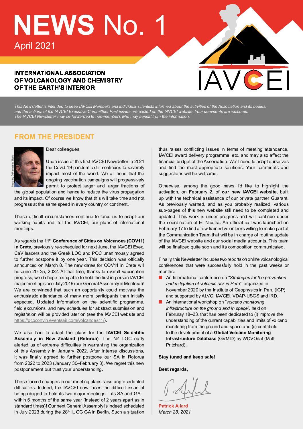Latest IAVCEI Newsletter – 1/2021